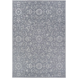 Monte Carlo Summer Vines Dark Grey and Ivory Rectangular: 5 Ft. 10 In. x 9 Ft. 2 In. Indoor/Outdoor Rug