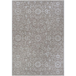 Monte Carlo Summer Vines Mushroom and Ivory Rectangular: 3 Ft. 9 In. x 5 Ft. 5 In. Indoor/Outdoor Rug