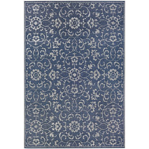 Monte Carlo Summer Vines Navy and Ivory Rectangular: 5 Ft. 3 In. x 7 Ft. 6 In. Indoor/Outdoor Rug