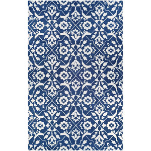 Crawford Tulip Lattice Blue and Ivory Rectangular: 2 Ft. x 3 Ft. Rug