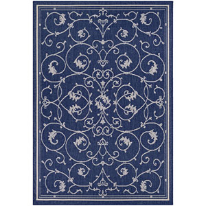 Recife Veranda Ivory and Indigo Rectangular: 5 Ft. 10 In. x 9 Ft. 2 In. Indoor/Outdoor Rug