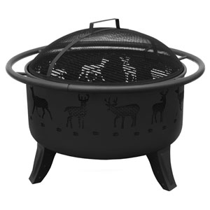 Patio Lights Deer Fire Pit - Black