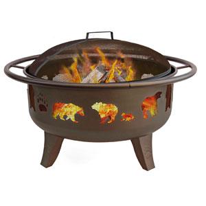 30-Inch Bears Firedance Fire Pit - Metallic Brown