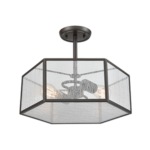Spencer Oil Rubbed Bronze Two-Light Semi-Flush Mount