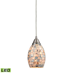 Capri Satin Nickel LED Mini Pendant with Gray Capiz Shell Shade