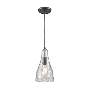 Hand-Formed Glass Oil Rubbed Bronze 12-Inch One-Light Mini Pendant