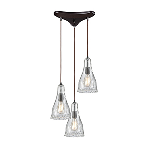 Hand Formed Glass Oil Rubbed Bronze 12-Inch Three-Light Pendant