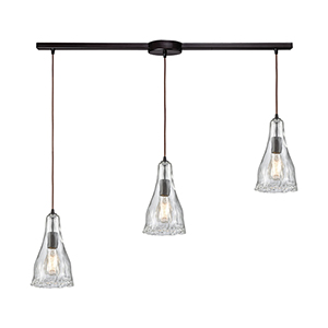 Hand Formed Glass Oil Rubbed Bronze 38-Inch Three-Light Pendant