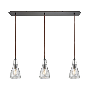 Hand Formed Glass Oil Rubbed Bronze 36-Inch Three-Light Pendant