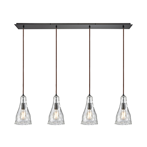 Hand Formed Glass Oil Rubbed Bronze 46-Inch Four-Light Pendant