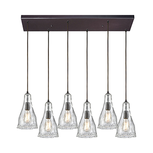 Hand Formed Glass Oil Rubbed Bronze 32-Inch Six-Light Pendant