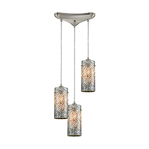 Capri Satin Nickel 12-Inch Three-Light Pendant