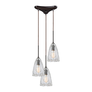 Hand Formed Glass Oil Rubbed Bronze 60W Three-Light Pendant
