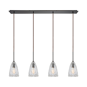 Hand Formed Glass Oil Rubbed Bronze 60W Four-Light Pendant