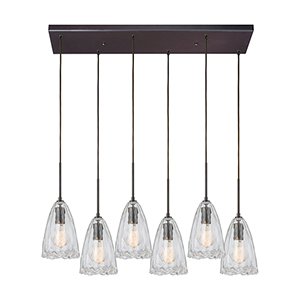 Hand Formed Glass Oil Rubbed Bronze 60W Six-Light Pendant