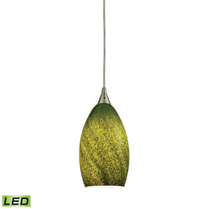Earth Satin Nickel LED Mini Pendant with Sunlit Grass Green Shade