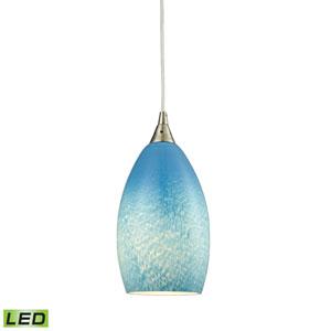 Earth Satin Nickel LED Mini Pendant with Whispy Cloud Sky Blue Shade