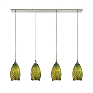 Earth Satin Nickel 46-Inch Four-Light Pendant with Sunlit Grass Green Glass Shades