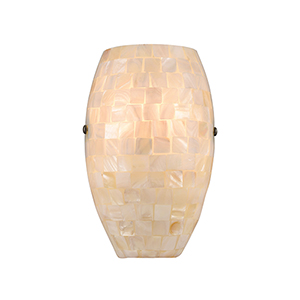 Capri Satin Nickel One-Light ADA Wall Sconce With Capiz Shell