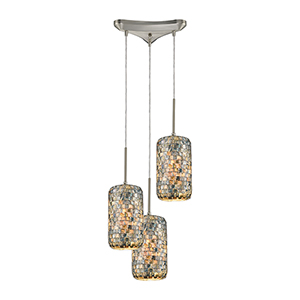 Capri Satin Nickel Three-Light 12-Inch Pendant With Capiz Shell