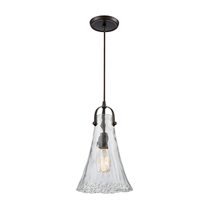 Hand-Formed Glass Oil Rubbed Bronze 15-Inch One-Light Mini Pendant