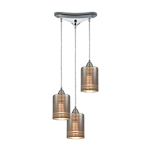 Plated Rings Polished Chrome 60W Three-Light Pendant