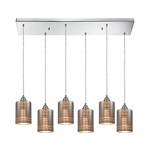 Plated Rings Polished Chrome Six-Light Pendant