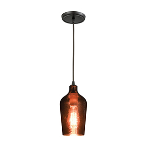 Hammered Glass Oil Rubbed Bronze One-Light Mini Pendant