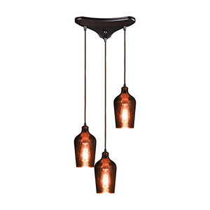 Hammered Glass Oil Rubbed Bronze 60W Three-Light Pendant