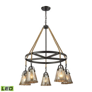 Hand Formed Glass Oil Rubbed Bronze 33-Inch LED Chandelier