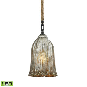 Hand Formed Glass Oil Rubbed Bronze Six-Inch LED Mini Pendant