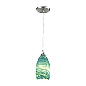 Collanino Satin Nickel Five-Inch One-Light Mini Pendant with Aqua Swirl Blown Glass