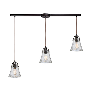 Hand Formed Glass Oil Rubbed Bronze Three-Light Pendant
