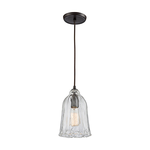 Hand-Formed Glass Oil Rubbed Bronze 11-Inch One-Light Mini Pendant