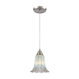 Walton Satin Nickel Seven-Inch One-Light Mini Pendant with Dichroic Pressed Glass