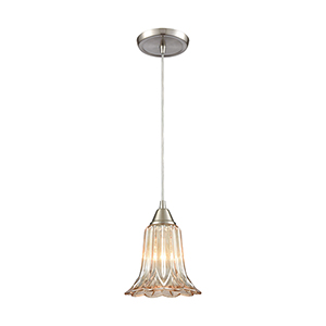 Walton Satin Nickel Seven-Inch One-Light Mini Pendant with Amber Plated Pressed Glass