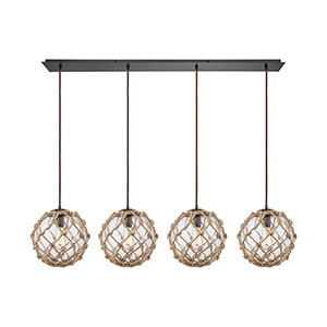Coastal Inlet Oil Rubbed Bronze Four-Light Pendant