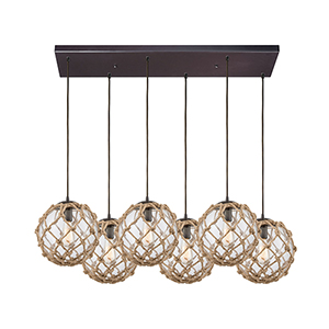 Coastal Inlet Oil Rubbed Bronze Six-Light Pendant