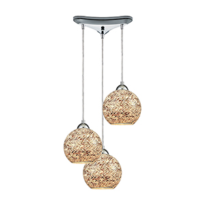 Crosshatch Polished Chrome Three-Light Mini Pendant