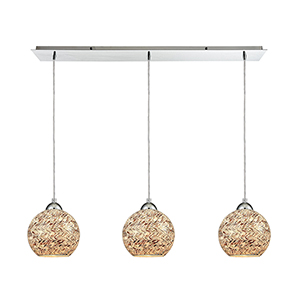 Crosshatch Polished Chrome 36-Inch Three-Light Pendant with Painted Crosshatch Mosaic Glass