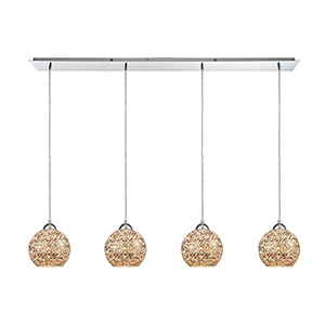 Crosshatch Polished Chrome Four-Light Pendant
