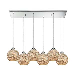 Crosshatch Polished Chrome Six-Light Pendant