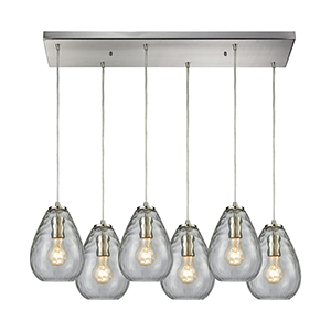 Lagoon Satin Nickel 30-Inch Six-Light Pendant with Clear Water Glass