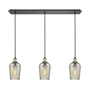 Hammered Glass Oil Rubbed Bronze Three-Light Pendant