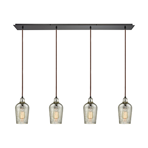 Hammered Glass Oil Rubbed Bronze Four-Light Pendant