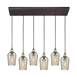 Hammered Glass Oil Rubbed Bronze Six-Light Pendant