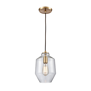 Barrel Satin Brass One-Light Mini Pendant
