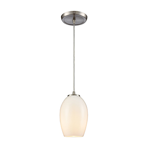 Villiska Satin Nickel Five-Inch One-Light Mini Pendant with White Blown Glass