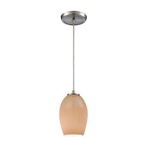 Villiska Satin Nickel Five-Inch One-Light Mini Pendant with Peach Gray Plated Blown Glass