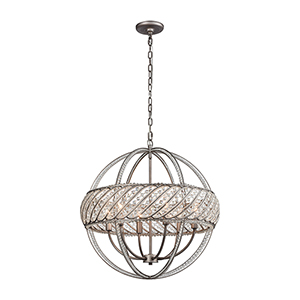 Bradington Weathered Zinc Six-Light Pendant